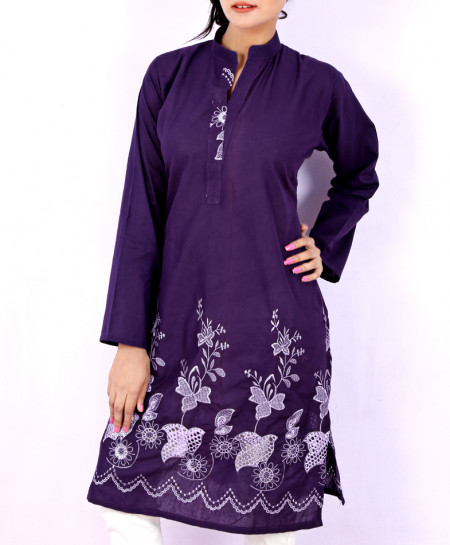 Indigo Purple Embroidered Border Ladies Kurti VRJ-1742