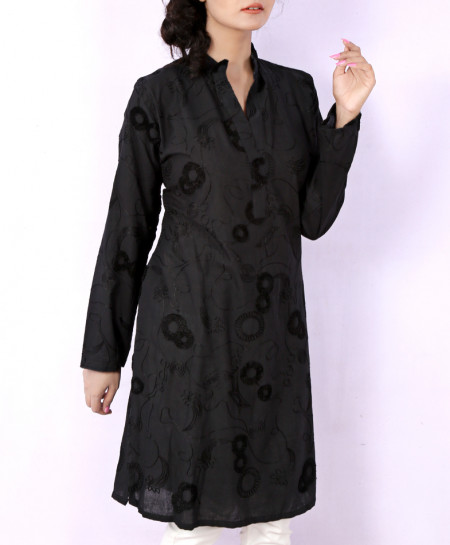 Black Chicken Embroidered Ladies Kurti VRJ-1748