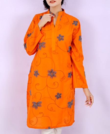 Orange Chicken Embroidered Ladies Kurti VRJ-1749