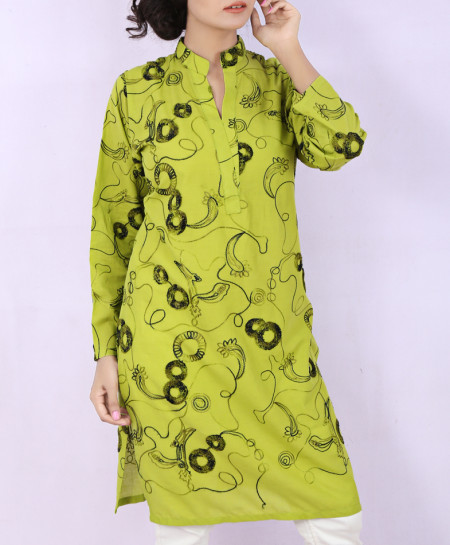 Lime Chicken Embroidered Ladies Kurti VRJ-1750