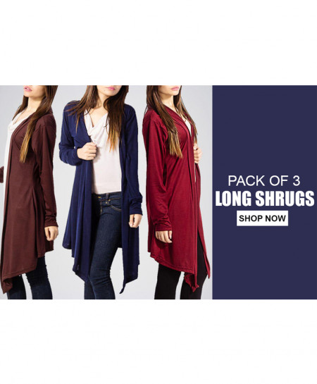 Pack Of 3 Long Shrugs LS-6456
