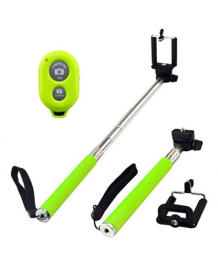 Mono Pod With Bluetooth Shutter Selfie Stick Green