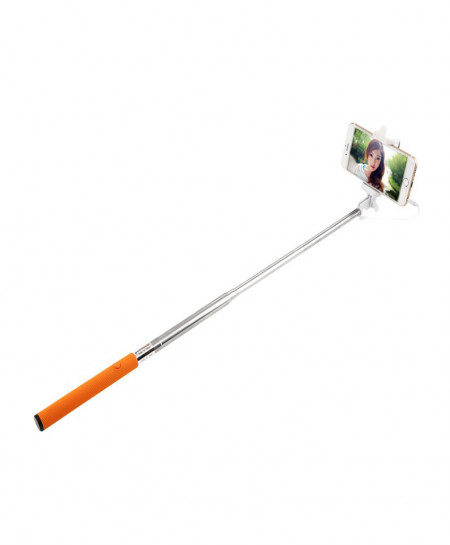Selfie Stick With Stereo Pin Orange Colour