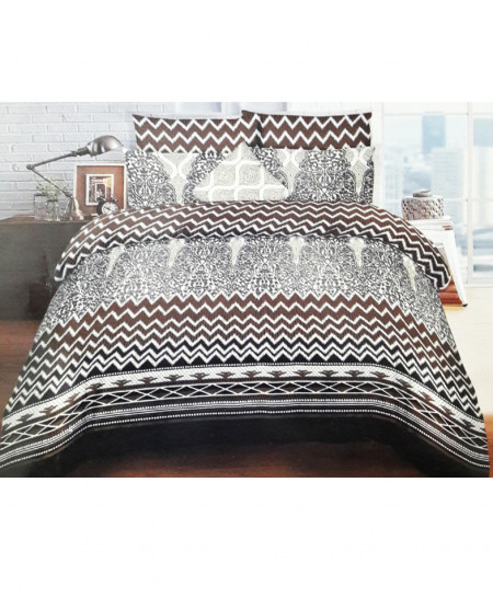 Brown And White Zig Zag Style Cotton Bedsheet SY-255