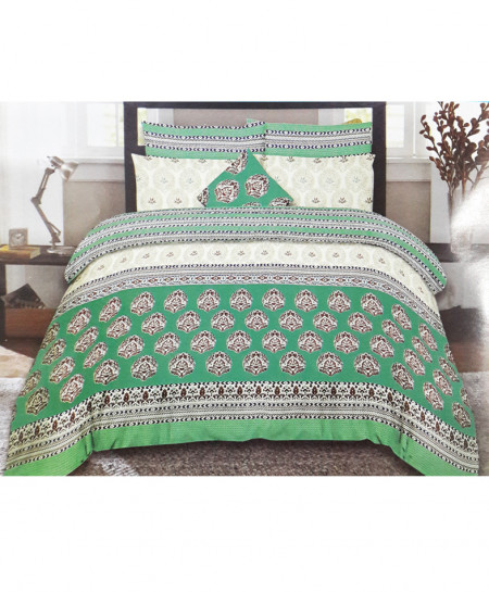 Green Stylish Floral Style Cotton Bedsheet SY-257