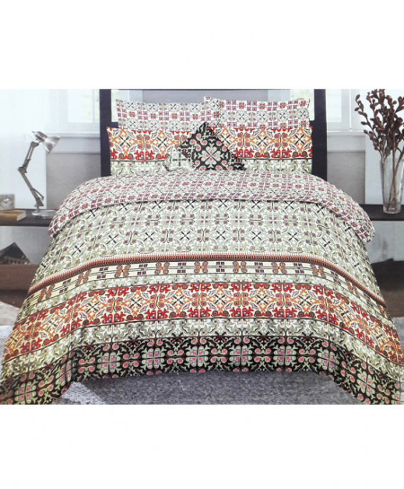 Green With Brown Floral Style Cotton Bedsheet SY-259