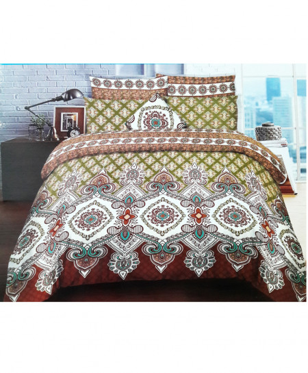 Brown With Green Floral Stylish Cotton Bedsheet SY-262