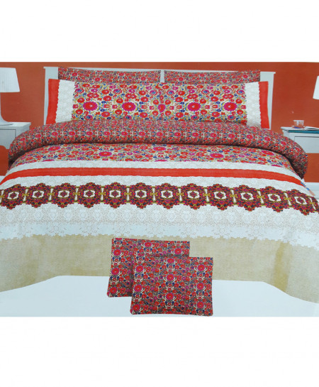 White With Red Floral Style Cotton Bedsheet SY-267