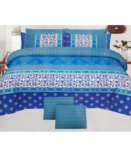 Blue Stylish Floral Cotton Bedsheet SY-268