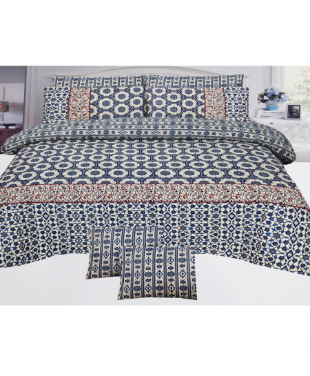 Blue With Brown Floral Style Cotton Bedsheet SY-270