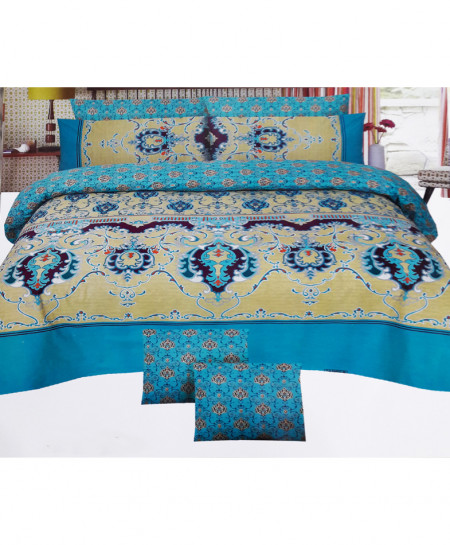 Mustard With Blue Floral Cotton Bedsheet SY-272