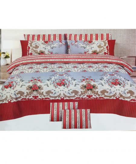 Red With Brown Floral Style Cotton Bedsheet SY-273