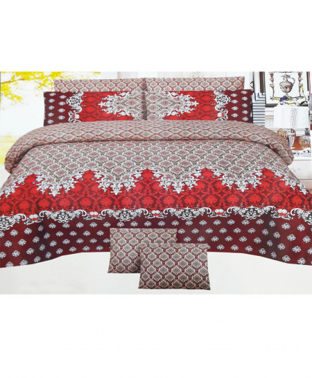 Red With White Floral Style Cotton Bedsheet SY-274