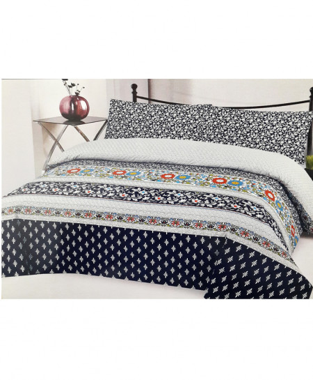 Black Multicolor Floral Style Cotton Bedsheet SY-276