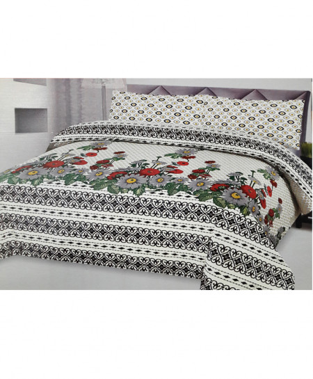 White Multicolor Floral Style Cotton Bedsheet SY-278