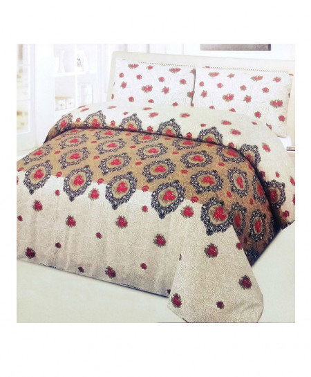 Brown With Red Floral 8 Pcs Quilt Cover Set SYQ-265