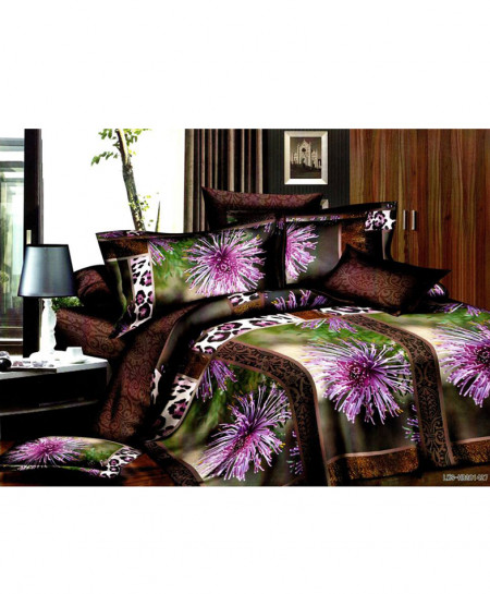 5D Brown Floral Satin Bedsheet HD-315