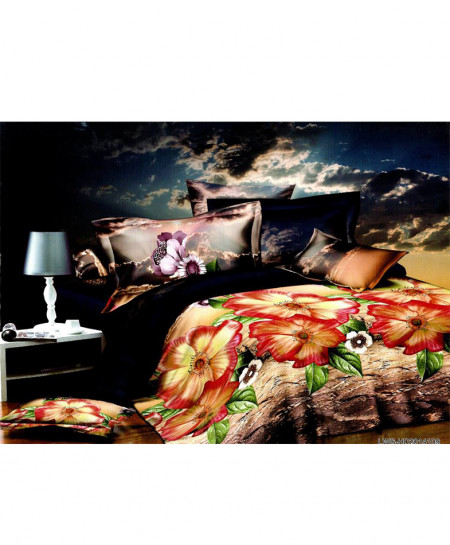 5D Varicolored Floral Satin Bedsheet HD-321