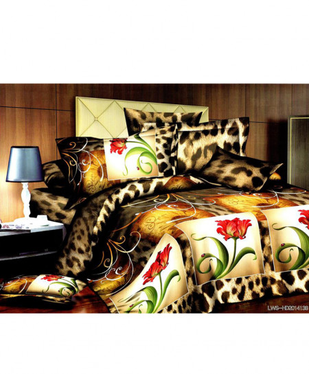 5D Multicolored Floral Satin Bedsheet HD-324