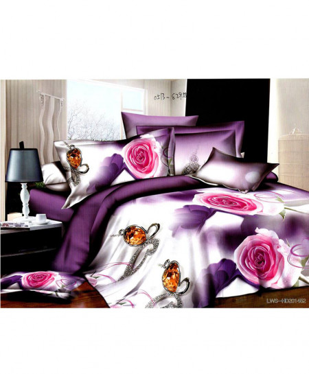 5D Purple White Floral Satin Bedsheet HD-330