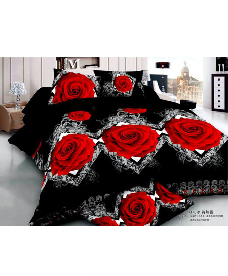 5D Black Roses Satin Bedsheet HD-345