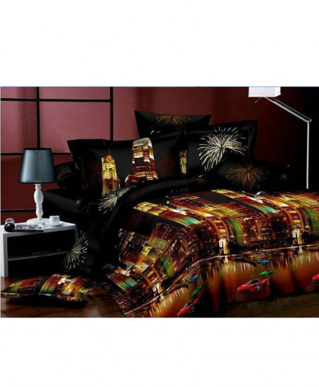 5D Black Lighting Buildings Satin Bedsheet HD-350