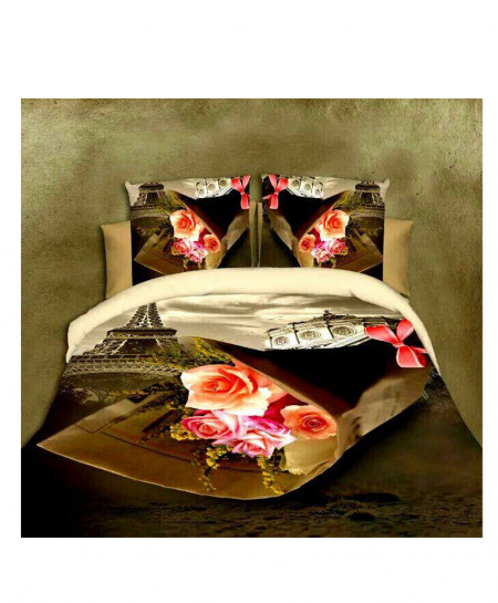 5D Dark Green Floral Satin Bedsheet HD-352