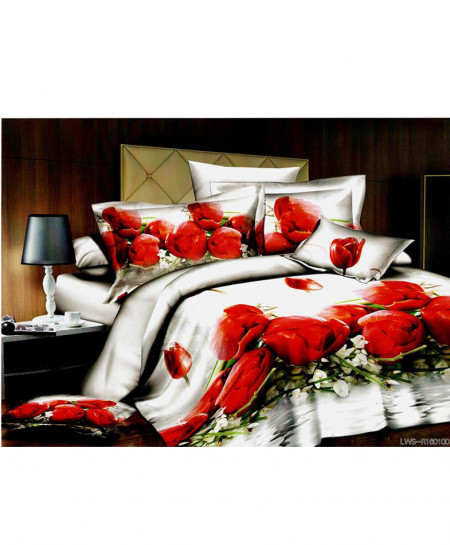 5D White Roses Satin Bedsheet HD-358