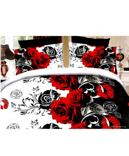5D Black Roses Satin Bedsheet HD-364