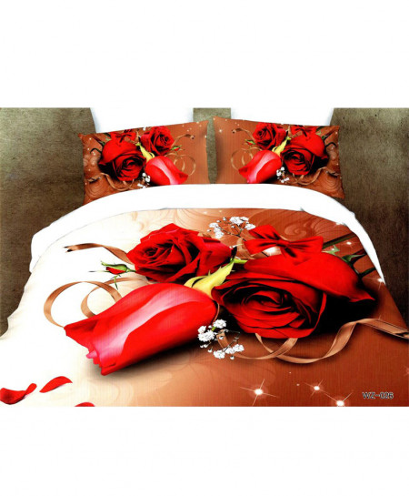 5D Brown White Roses Satin Bedsheet HD-366