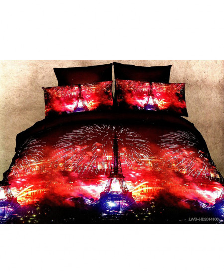 5D Red Eiffel Tower Satin Bedsheet HD-371