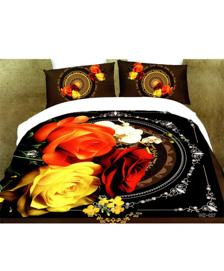 5D Varicolored Floral Satin Bedsheet HD-373