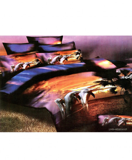 5D Sea View Satin Bedsheet HD-374