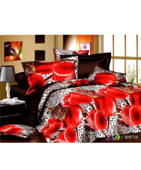 5D Dark Brown White Floral Satin Bedsheet HD-378