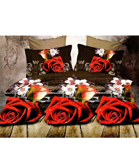 5D Coffee Brown Roses Satin Bedsheet HD-379