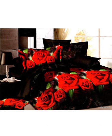 5D Jet Black Roses Satin Bedsheet HD-380