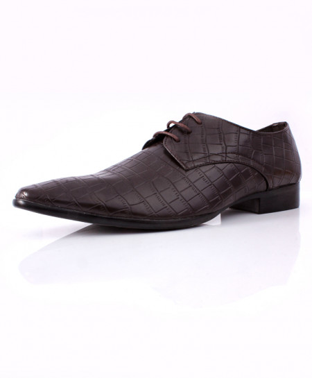 Choco Brown Block Stitched Design Formal Shoes CB-2053