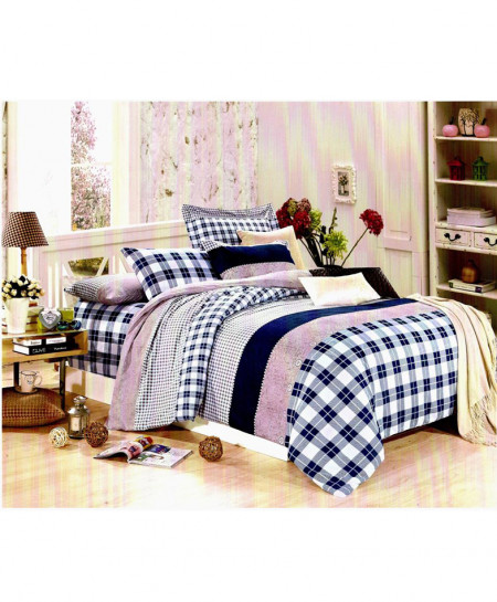 Laser Print Blue Checkered Satin Bedsheet CB-009