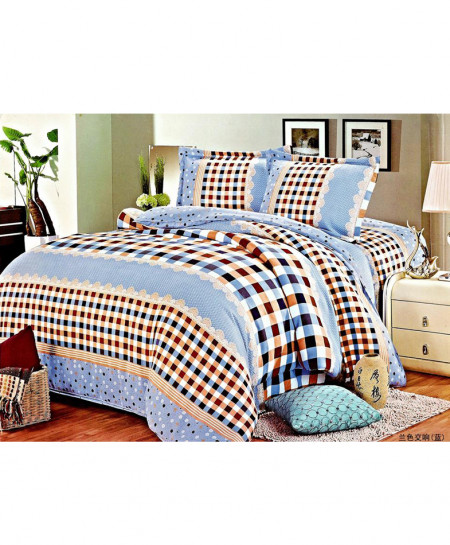 Laser Print Sky Blue Blocks Satin Bedsheet CB-010