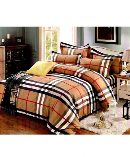 Laser Print Brown Checkered Satin Bedsheet CB-022
