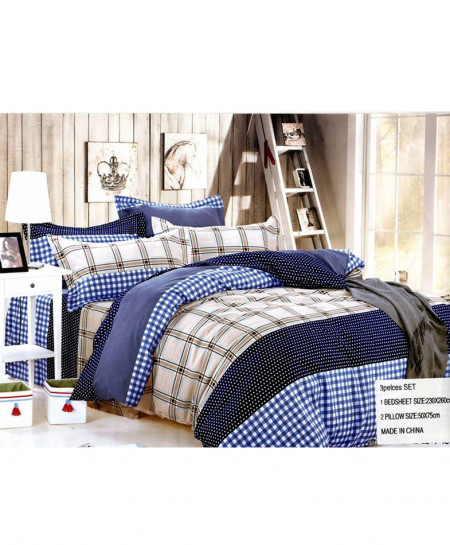 Laser Print Dark Blue Checkered Satin Bedsheet CB-031