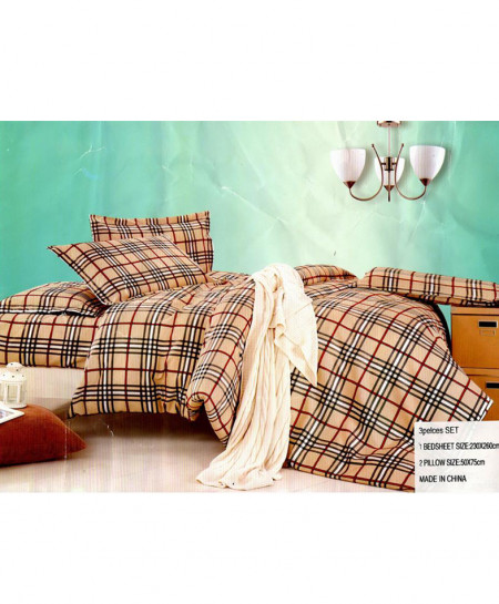 Laser Print Light Brown Checkered Satin Bedsheet CB-029