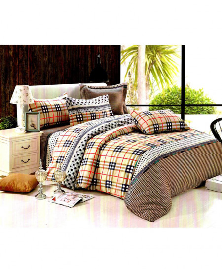 Laser Print Varicolored Checkered Satin Bedsheet CB-025