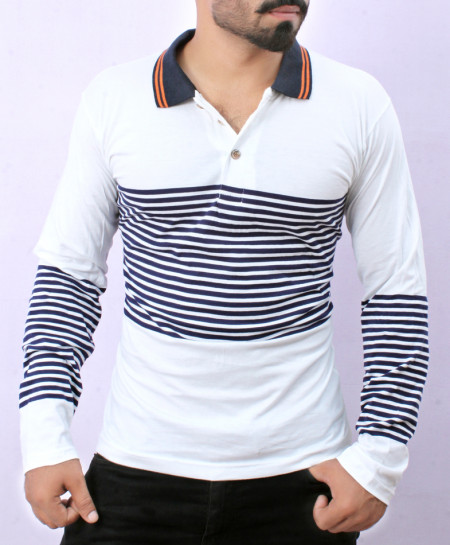 White With Blue Striper New Fashion Full Sleeves T-Shirt AG-6