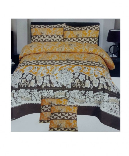 Brown With White Floral Cotton Bedsheet SY-279