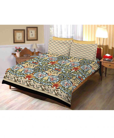 Brown With Multicolor Floral Cotton Bedsheet SY-283