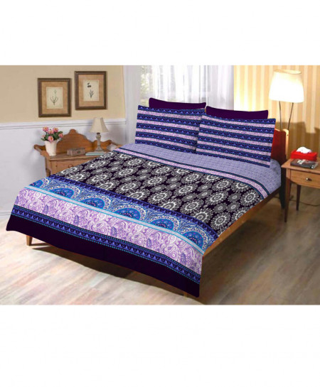 Blue With Purple Floral Cotton Bedsheet SY-286