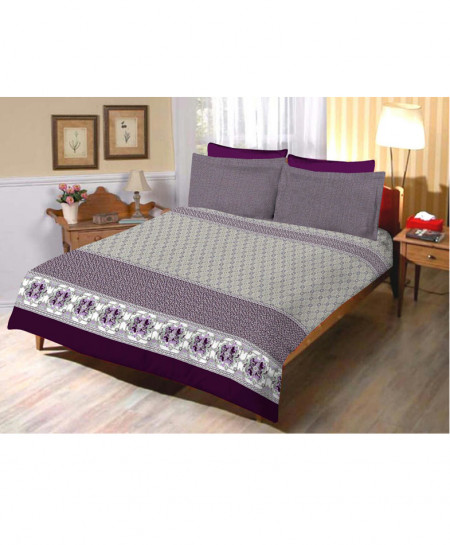 Grey With Purple Floral Cotton Bedsheet SY-287