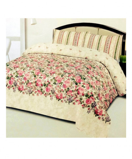 Cream With Pink Floral Cotton Bedsheet SY-288