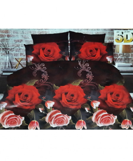 Red Floral 5D Bedsheet SY-D-290